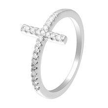 Fashion Classic Zirconia Wedding Rings Cross Shape Band Ring Jewelry For Women