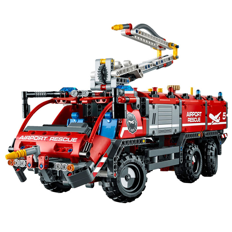 Technic Airport Rescue Vehicle 20055 1180pcs Mechanical Fire Engine Car Model Building Blocks Toys For Boy Compatible LeGOED lepin technic 20055 the rescue vehicle set 1180pcs building blocks toys for children bricks compatible legoing technics 42068