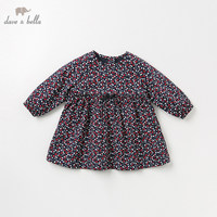 DB11846 2 dave bella autumn baby girl's princess cute bow print dress children fashion party dress kids infant lolita clothes