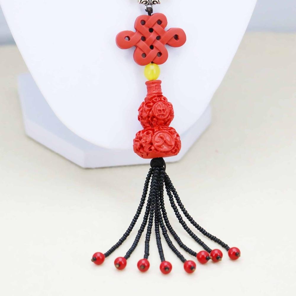 Hot sale Chinese Knot Calabash pendants Necklace Choker Sweater Chain Jewelry crafts Women Girls