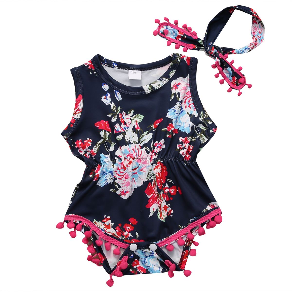 Emmababy Newborn Baby Girls Floral Print One Piece Tassel  Romper Bow Headwear Sunsuit Clothes Set 3Pcs kawaii shark print newborn baby girls strap romper jumpsuit one piece sunsuit outfit clothes