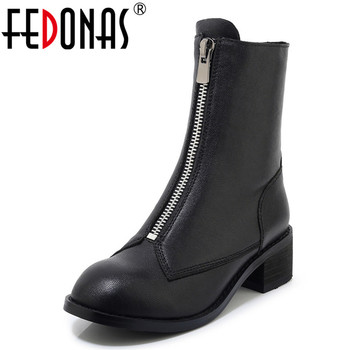 FEDONAS Punk Women Autumn Winter High Heels Ankle Boots Genuine Leather Zipper Riding Boots Round Toe Casual Party Shoes Woman