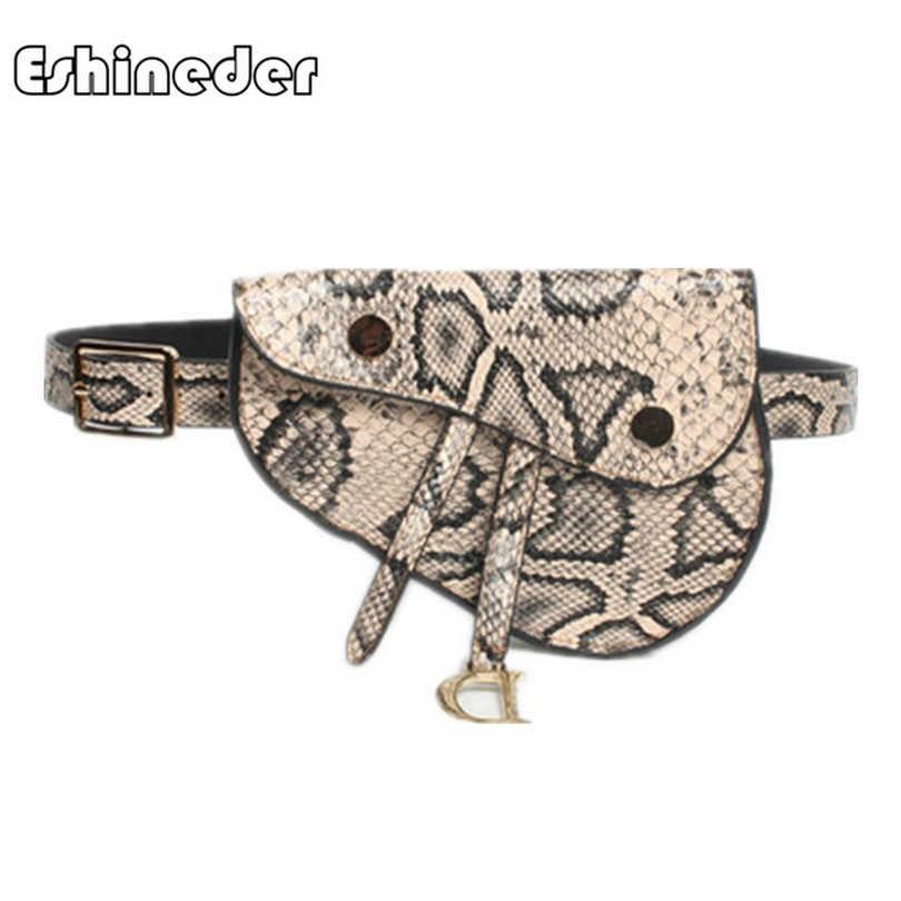 6ff89c22289c ESHINEDER Luxury Brand Snakeskin Leather Fanny Pack Women Belt Waist Bags  Fashion Saddle Chest Bags Shoulder