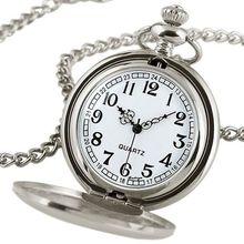 Reloj De Bolsillo Black/Silver Smooth Quartz Watch Necklace Pendant Steampunk Women Men Relogio Unisex Vintage Relojes Best GIft