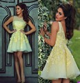 Diseño Original Elegante Cóctel Vestido Amarillo 2017 de Novia de Escote Plisado Vestidos de Fiesta Vestidos de Fiesta Cortos Marrones 416001