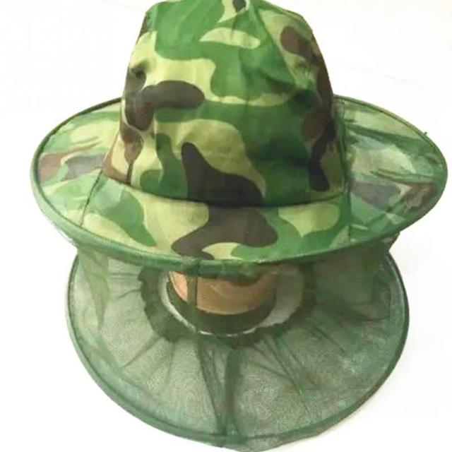 Outdoor Camouflage Anti Zanzara Cappello di Pesca Con Net Mesh Head Copertura Pe
