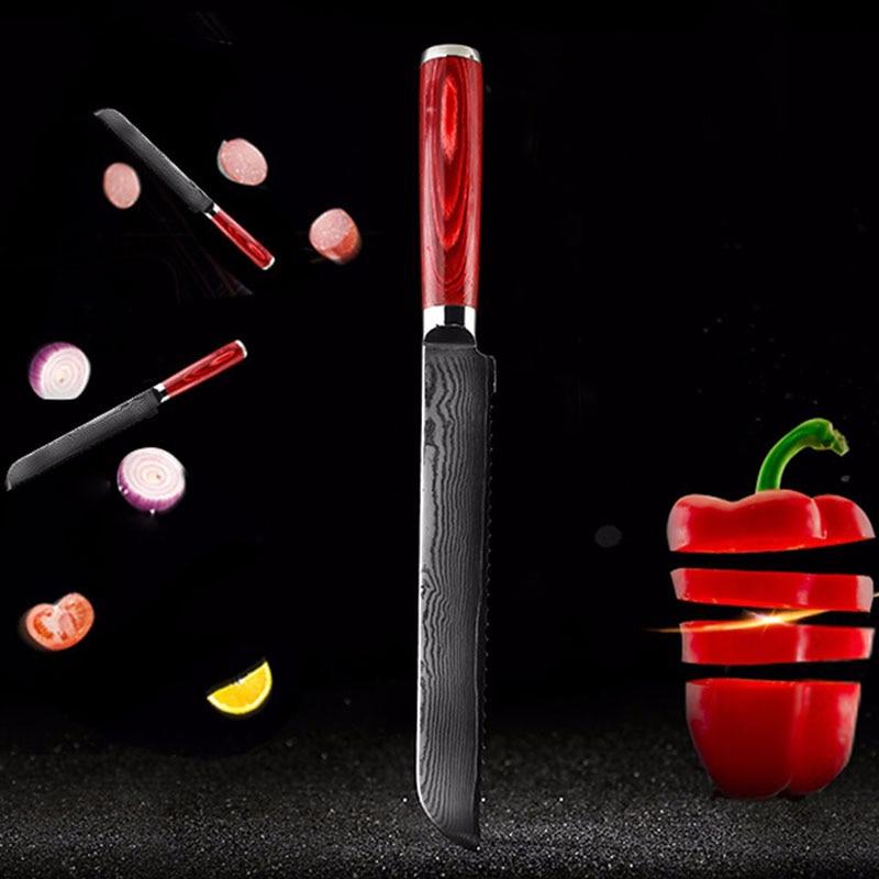 LD 8 inch bread font b knives b font Damascus kitchen font b knife b font