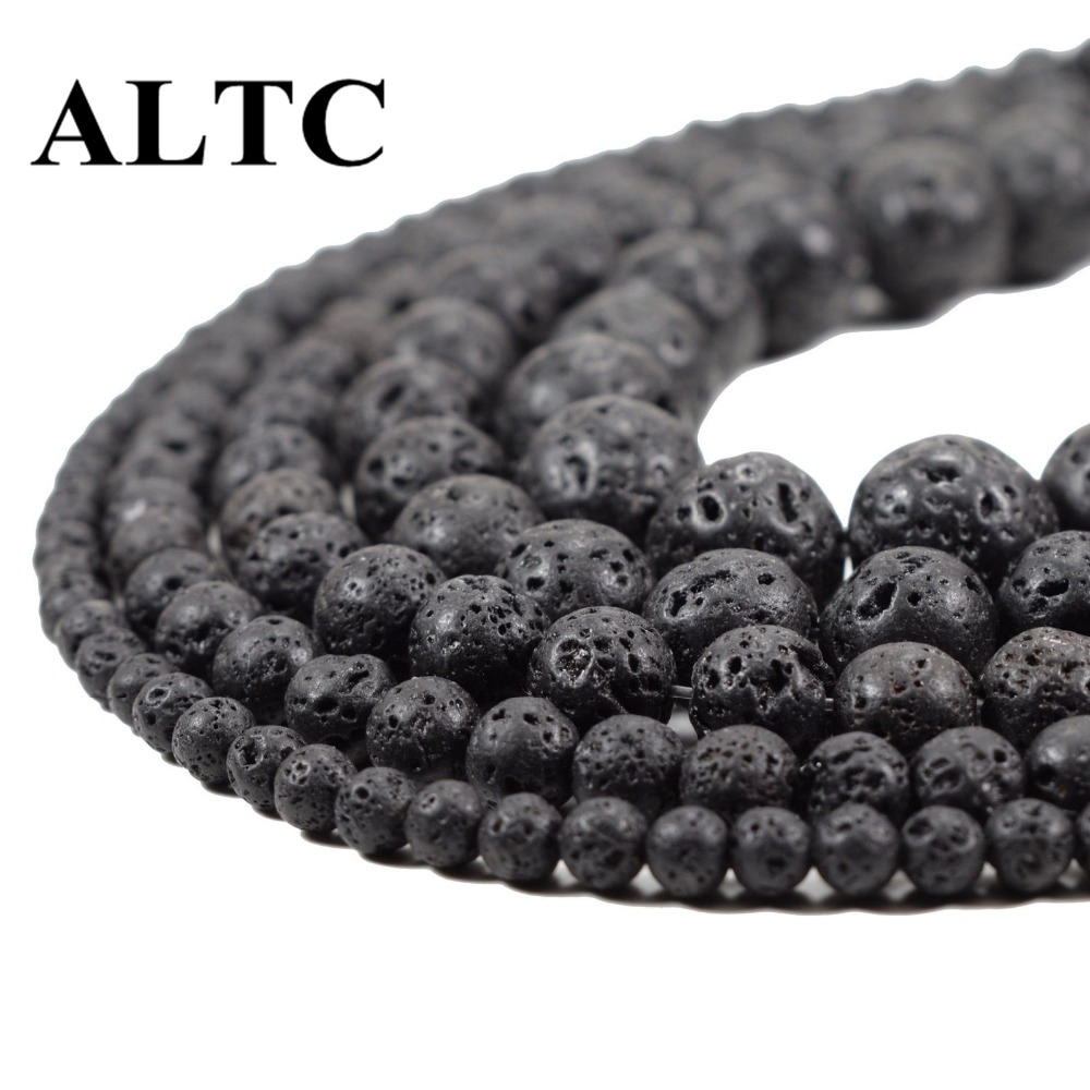 DIY Black Volcanic Lava Beads Lava Stone Beads Round volcanic stone Shape Natural Stone Beads for Jewelry Making 4 14mm