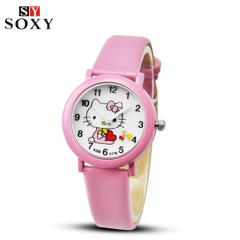 2016 Hot Sale Kids Hello Kitty Watch Children Cute Cartoon-Watch Candy Leather Quartz-Watch Girl Watches Clock Baby Hour Gift