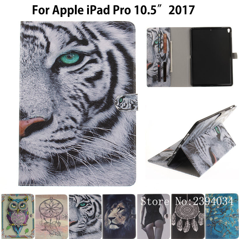 Cartoon Tiger pattern Case For Apple iPad Pro 10.5'' 2017 Case Smart Cover A1701 Funda Tablet Silicone PU Leather Stand Shell smart tiger