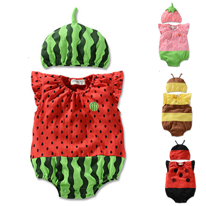New Summer Cute Baby Clothing Set Cartoon Animal Watermelon Cotton Romper+Cap Infant Boys Girls Newborn Jumpsuit Clothes Outfits cotton cute red lips print newborn infant baby boys clothing spring long sleeve romper jumpsuit baby rompers clothes outfits set