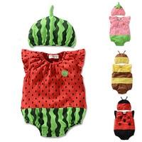 New Summer Cute Baby Clothing Set Cartoon Animal Watermelon Cotton Romper Cap Infant Boys Girls Newborn