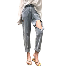 Boyfriend Ripped Hole Jeans Women Denim Pant Vintage Straight Jeans High Waist Casual Ankle-Length Pants Female Slim Jeans distressed boyfriend hole ripped jeans women pants cool denim vintage straight jeans for girls mid waist slim casual pants e0982