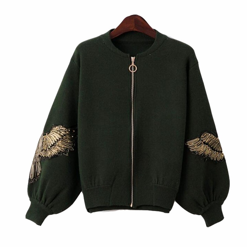 Hchenli Brand 2018 Spring Women Cardigans Slim O Neck Lantern Sleeve Embroidery Beading Cardigan Jacket Knit Sweater Coat