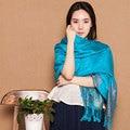 From India Scarf Paisley Tippet Oversize Ethnic Bufandas 100% Cotton Winter Scarves Turquoise Fashion Echarpe 200*70cm