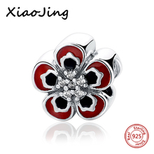 hot deal buy 925 sterling silver red rose charms with cz stone beads fit original european charm bracelet beads diy jewelry making for gifts