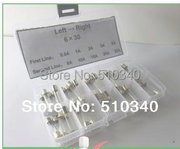 10 valor 80 PCS 250 V Fusível de Vidro Golpe Rápido 6mm x 30mm Kit Sortido 1A2A5A8A10A20A25A30A Com Plástico caixa