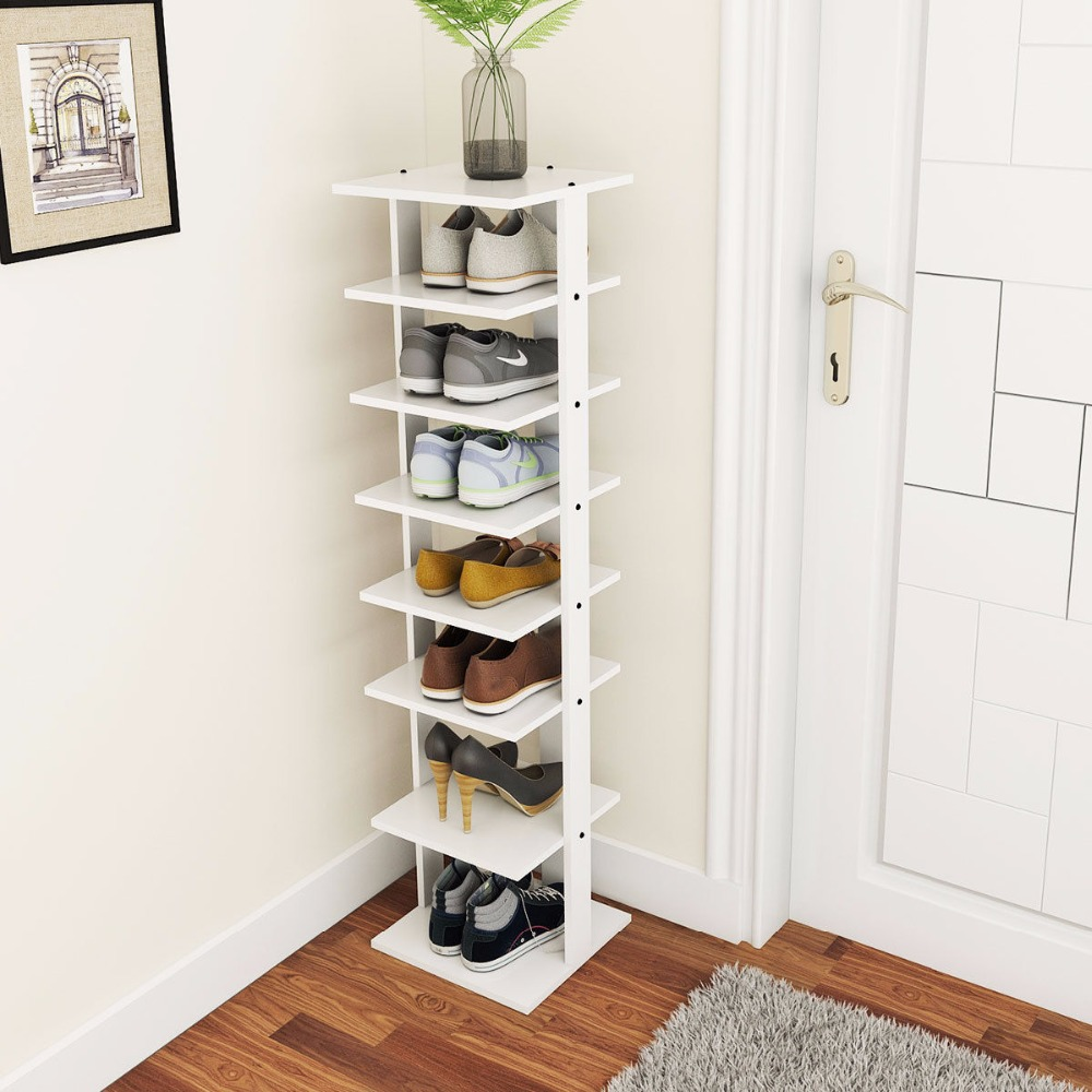 Giantex Wooden Shoes Storage Stand 7 Tiers Shoe Rack Organizer Multi Shoe  Rack Shoe Box Home Furniture HW57375