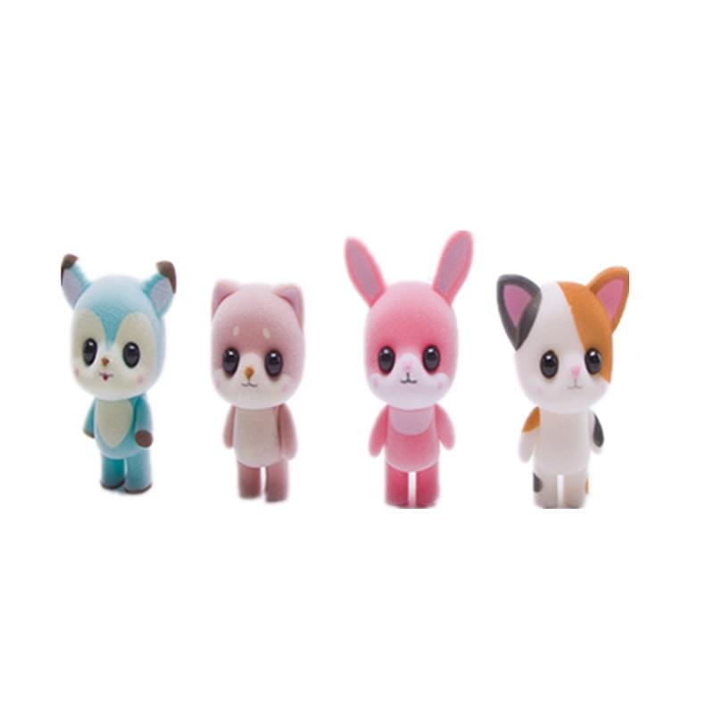 Сладък Puppy Bear Duck Заек Kat Doll Фигура Flocking Играчка детски играчки за момичета подарък 1бр 022201