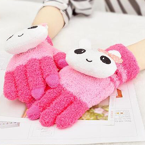 Kid Boy Girl Winter Warm Cute Panda Cat Animal Solid Color Touch Screen Gloves ...