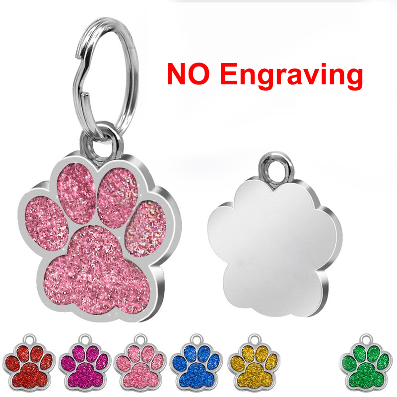 1pc Paw Shape Pendants Pet Dog Accessories Alloy ID Tags Puppy Pet Collar Pendant for Pet Cat Dog Supplies 6 color 26 Pet ID Tags