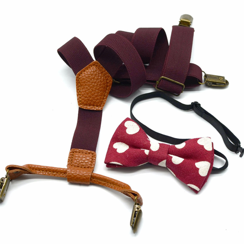 Baby Children's straps Boy's Kids Bow Ties Sets Baby Boys Wedding Matching Braces Suspenders Bow Tie Set