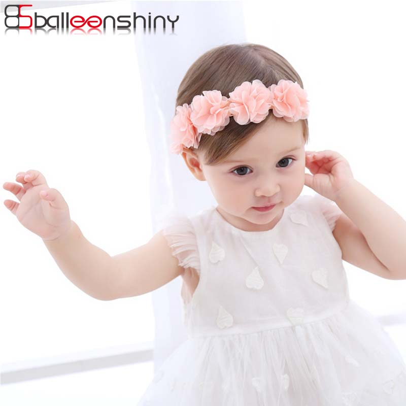 BalleenShiny New Fashion Baby Girls Lace Flowers Headband Kids Hair Accessories Newborn Elastic Cute Soft Band Lovely Headwear цена