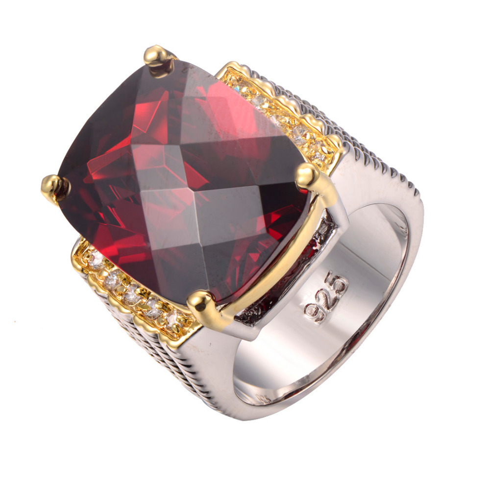 wholesale Garnet 925 Sterling Silver Ring Fashion Ring Size 6 7 8 9 10 F1240