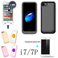 Real capacity 4000/3000mAh For iphone7Plus / i7 External power bank case Power pack Charger Backup Battery Case with USB glass