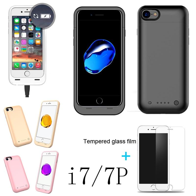 imágenes para Verdadera capacidad de 4000/3000 mAh Para iphone7Plus/i7 caso Power pack Cargador de Batería de Reserva Del Caso banco de alimentación Externa con USB de cristal