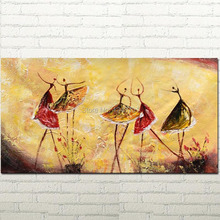Wall Art Ballet Dancers Oil Painting Canvas Abstract Art Impasto Texture Painting Palette Knife Oil Painting