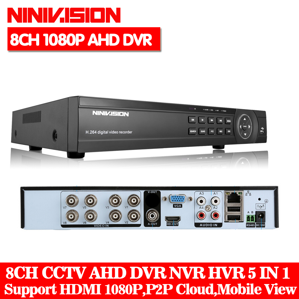 8CH 1080P DVR System ONVIF mini NVR 8CH AHD Hybrid DVR HDMI 1080P H 264 P2P