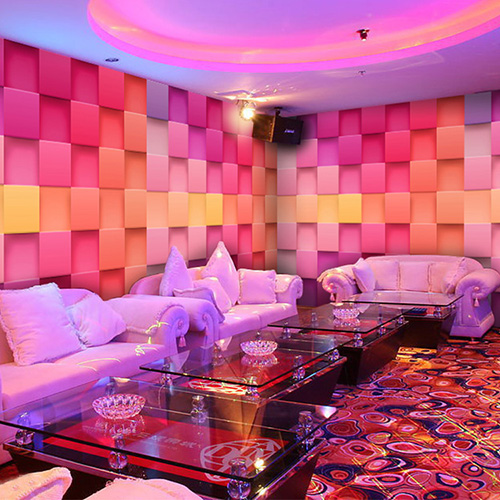 Custom photo wallpaper 3D pink theme ktv bar checkered Night ...