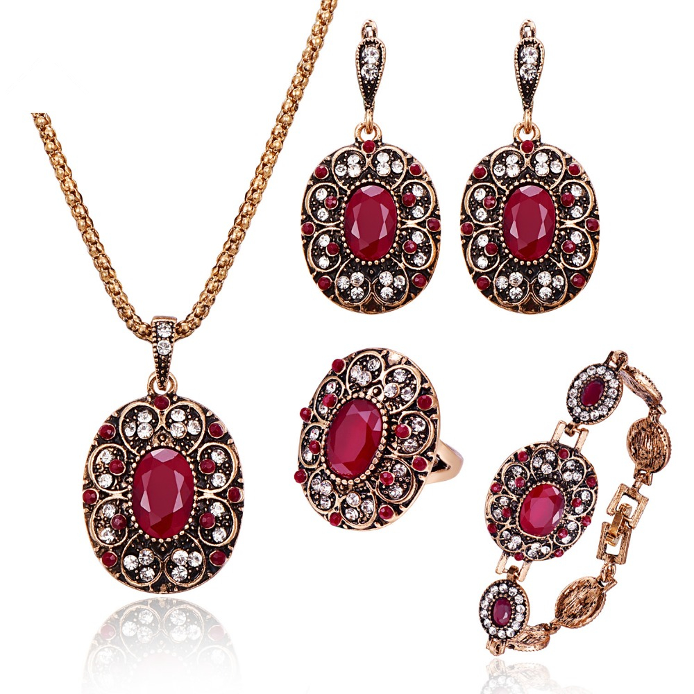 Fashion Vintage Bridal Jewelry Sets Elegant Colorful Rhinestone Antique Red Crystal Resin Flower Pendant Necklace Sets