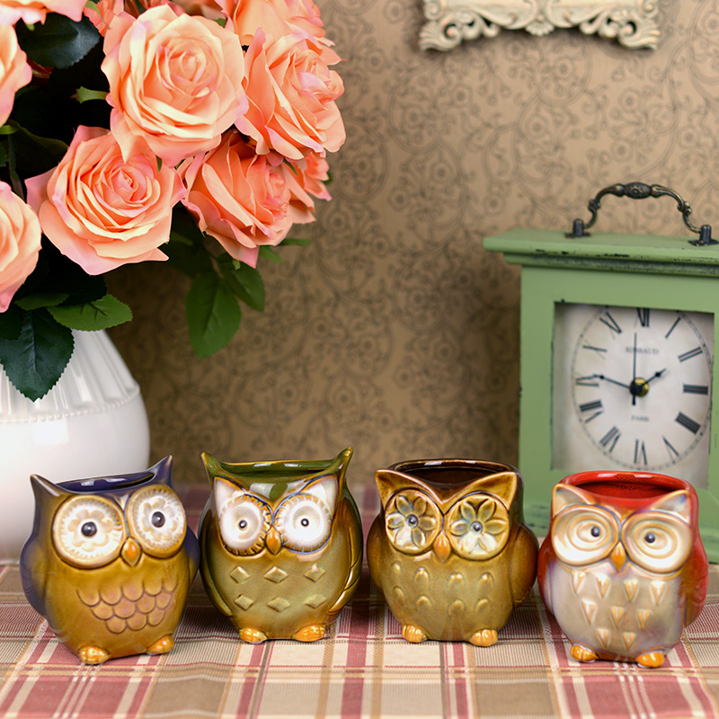 Owl Mugs Fancy Glaze Coffee cup European Home Furnishing study table decoration brush po ...