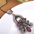 Turkish New Design Vendimia Pendants Necklace Antique Gold Plated Choker Long Sweater Chain Necklace Women Luxurious Collier