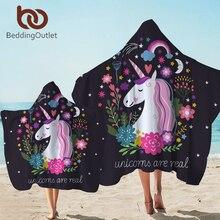 BeddingOutlet unicornio CON CAPUCHA DE Toalla de microfibra Toalla de baño con capucha para niños adultos Floral de dibujos animados portátil playa Manta-