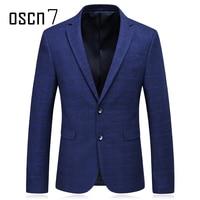Oscn7 Navy Check Two Button Men Blazer Slim Fit 2017 Autumn New Blue Plaid Print Casual