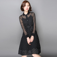 Two Piece Suit Women Spring New Black Chiffon Long Sleeve Shirt Dress With Vest Casual Official