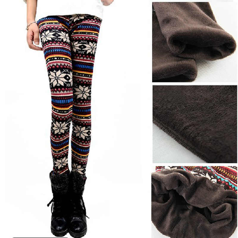 365746511 2018 Autumn Winter Women warm Leggings Fashion Thickening thermal Snow Deer  Slim pants lady leopard floral