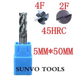 Image 4 - 5PCS 2F 3F 4 flutes D5x50MM 5MM  CNC Tool Tungsten Carbide End Mill HRC45 HRC50 HRC55 HRC60 HRC65 Aluminum milling cutter