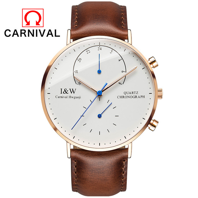 CARNIVAL Top Brand Luxury Quartz watch men Business Casual Black Japan quartz-watch genuine leather ultra thin clock male New