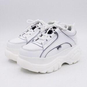 Image 4 - Baskets en cuir PU à plateforme pour femmes, blanc, abricot, 2020 printemps automne, mode chaussures décontractées