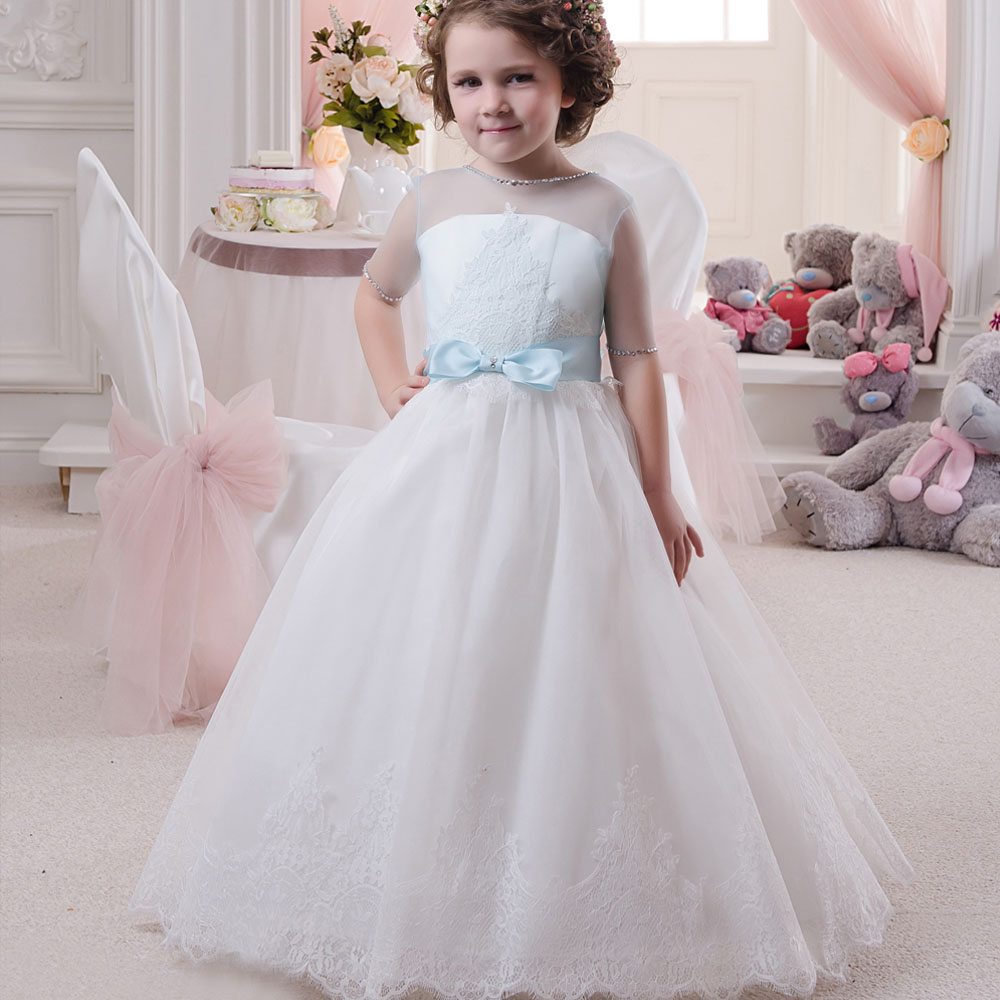 Pageant Dresses for Little Girls Lace Appliques Half Sleeves Beading Belt Open V Back Floor Length Ruffle Kids Ball Gowns 0-14Y