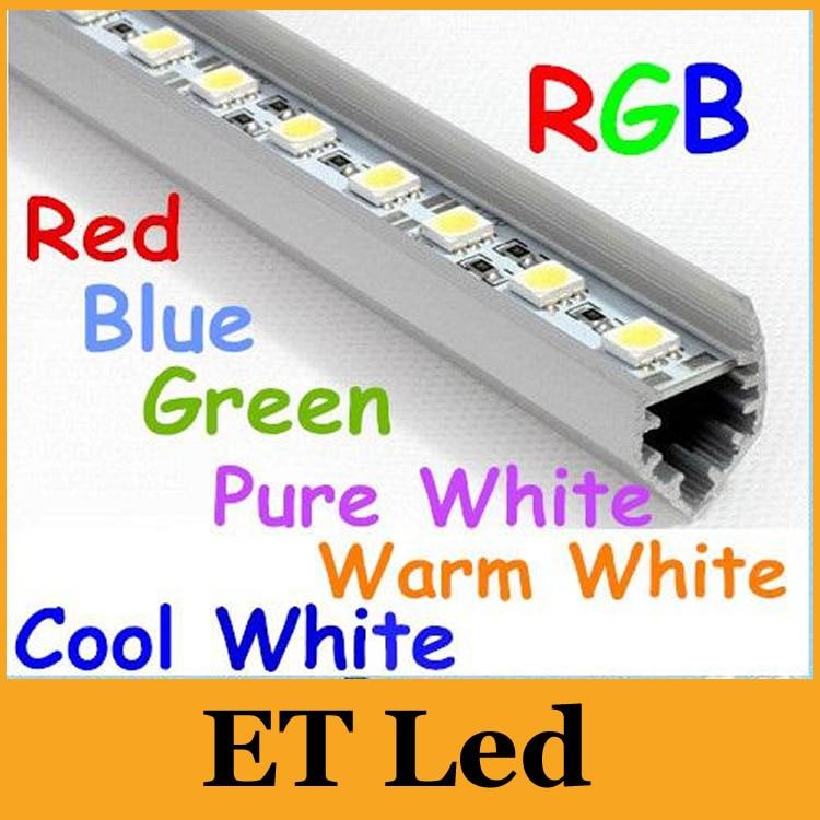 Cool Blue Light Bulbs: 50m X 1M 100cm V Type Slot Rigid Led Strips Bar Lights 72 Leds SMD 5050  Hard 12V Warm/Pure/Cool White RGB Red Green Blue CE&ROHS,Lighting