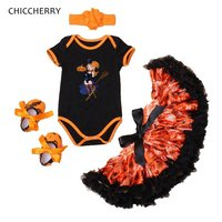 Little Witches Fashion Kids Halloween Costumes For Girls Clothes Bodysuit Tutu Skirt Shoes Headband Chidlren Set