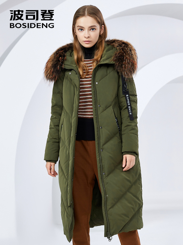 BOSIDENG women's winter big real fur collar hooded ladies down jacket 2018 new thicken warm waterproof long down coat B80141020