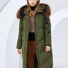 BOSIDENG women's winter big real fur collar hooded ladies down jacket