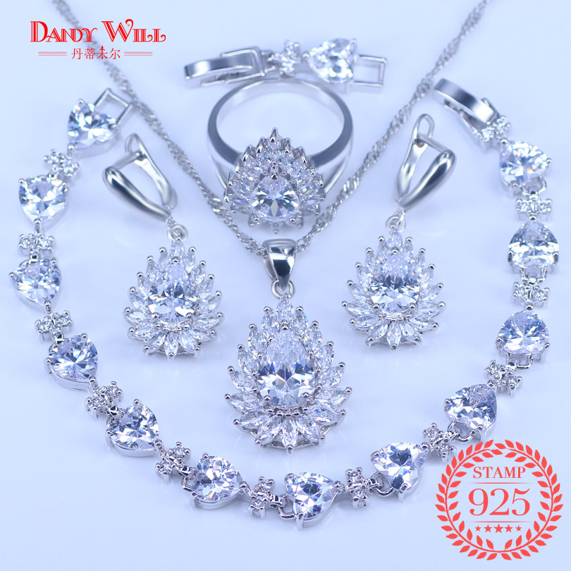 Jewelry-Sets Earrings Rings Pendants 925-Costume Silver Cubic-Zirconia Crystal White