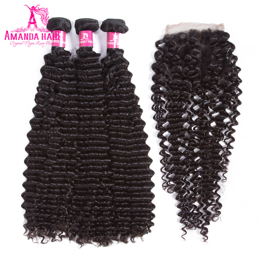 Amanda Kinky Curly Malaysian Hair 3 Bundles with Closure Free Part Wet And Wavy Natural Color 100% Human Remy Hair with Closure